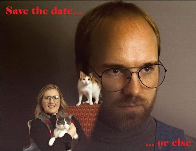 Caitlin Bailey and Clayton Hoy scare their guests with this save-the-date card. (Photo: Robin Sharp)