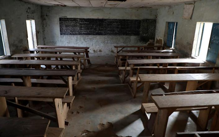 An empty class room following an attack by gunmen at Government Science College, Kagara, Nigeria, Thursday, Feb. 18, 2021. - AP