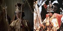 """<p><em>The Crown </em>didn't stray from tradition for Queen Elizabeth's coronation. """"We created all the dresses, the robes, the anointment gown, and it was just a huge task,"""" costume designer Michele Clapton told <a href=""""https://www.vanityfair.com/hollywood/2017/06/the-crown-queen-elizabeth-coronation"""" rel=""""nofollow noopener"""" target=""""_blank"""" data-ylk=""""slk:Vanity Fair"""" class=""""link rapid-noclick-resp"""">Vanity Fair</a>. """"We had a work room with five or six people creating the principals' costumes, and then various work rooms creating elements for the other dresses—embroidered pieces—just endless pieces.""""</p>"""