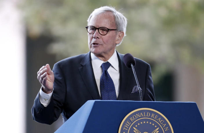 <p>Television journalist Tom Brokaw speaks at the funeral of Nancy Reagan at the Ronald Reagan Presidential Library in Simi Valley, Calif. <i>(Photo: Lucy Nicholson/Reuters)</i></p>