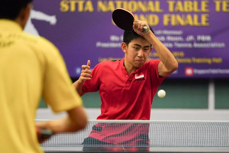 PHOTO: Koen Pang playing at the Singapore Table Tennis Association (STTA)'s National Table Tennis Grand Finale/STTA