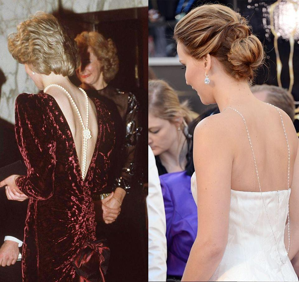 <p>We fell in love with the Chopard back necklace Jennifer Lawrence paired with her blush Christian Dior gown at the 2013 Oscars. However, it seems the Academy Award winner borrowed the styling tip from the Princess of Wales, who first draped a strand of pearls down back while wearing a backless red velvet Catherine Walker gown at the Back to the Future premiere in 1985.</p>