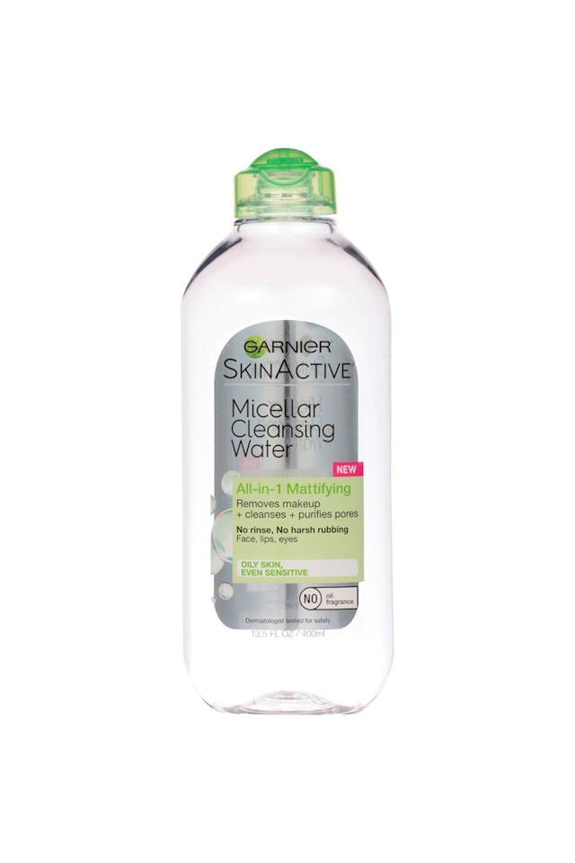 """<p>Swipe it across your face and speed up your morning routine. </p><p>Garnier SkinActive Micellar Cleansing Water All-in-1 Mattifying, $9, <a rel=""""nofollow"""" href=""""https://www.ulta.com/skinactive-micellar-cleansing-water-all-in-1-mattifying?productId=xlsImpprod15541113"""">ulta.com</a></p>"""