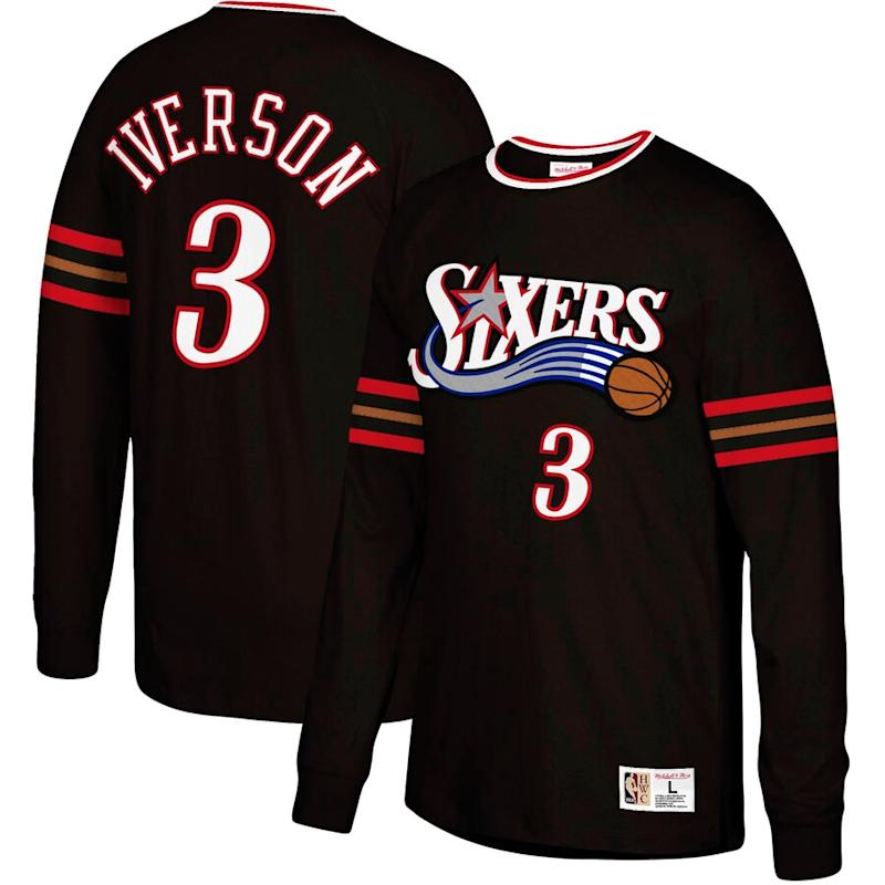 Iverson 76ers Name & Number Long Sleeve T-Shirt