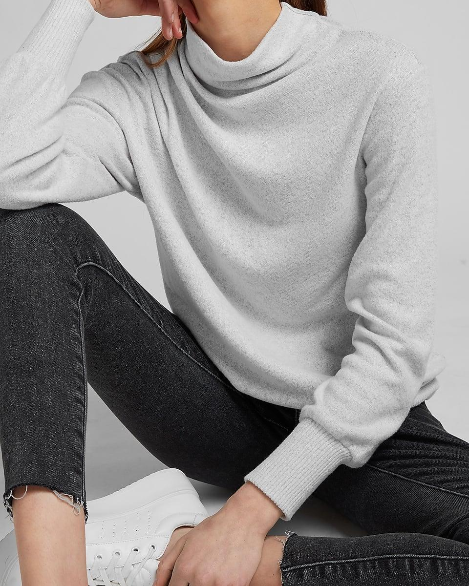 <p>On days when getting dressed comes second, just throw this <span>Soft Ruched Mock Neck Tee</span> ($58) and you'll be instantly Zoom-ready.</p>