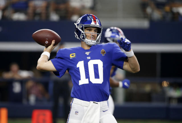 New York Giants quarterback Eli Manning (10) throws a pass in the second half of a NFL football game against the Dallas Cowboys in Arlington, Texas, Sunday, Sept. 8, 2019. (AP Photo/Ron Jenkins)