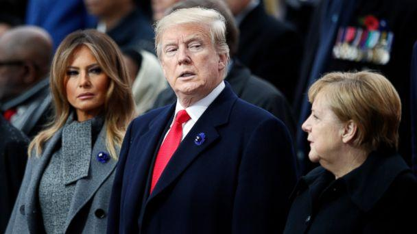 PHOTO: President Donald Trump, his wife Melania Trump, left, and German Chancellor Angela Merkel attend ceremonies at the Arc de Triomphe Sunday, Nov. 11, 2018 in Paris. (AP)