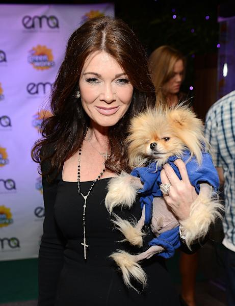 LOS ANGELES, CA - JANUARY 23:  TV personality Lisa Vanderpump and her dog Jiggy attend Celebrities and the EMA Help Green Works Launch New Campaign at Sur Restaurant on January 23, 2013 in Los Angeles, California.  (Photo by Michael Kovac/Getty Images for Green Works)