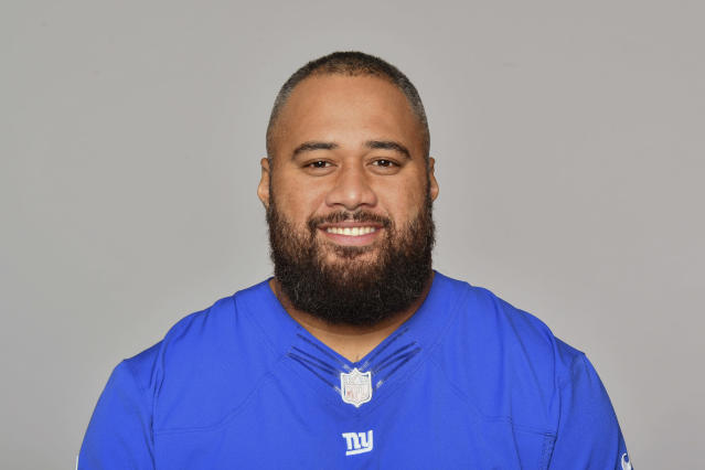 New York Giants' offensive lineman Jon Halapio has a chance to be the team's starting center, and doesn't want to return to the used car lot. (AP)