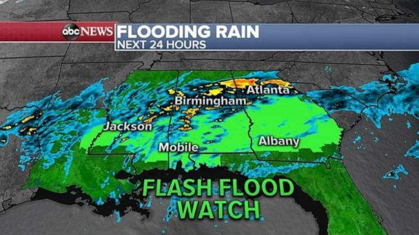 PHOTO: This weather system is bringing a lot of rain to the South, flood watches still continue Thursday morning for five states. (ABC News)