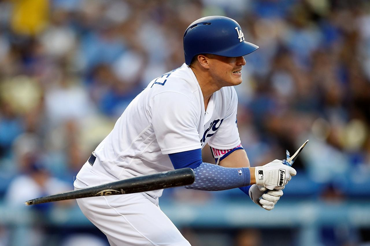 Jun 23, 2017; Los Angeles, CA, USA; Los Angeles Dodgers center fielder Enrique Hernandez (14) breaks his bat after hitting a single against the Colorado Rockies during the first inning at Dodger Stadium. Mandatory Credit: Kelvin Kuo-USA TODAY Sports     TPX IMAGES OF THE DAY