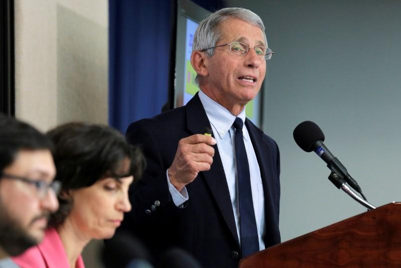 FILE PHOTO: Dr. Anthony Fauci, director of the National Institute of Allergy and Infectious Diseases at the National Institutes of Health speaks to the media about the Zika virus in Washington