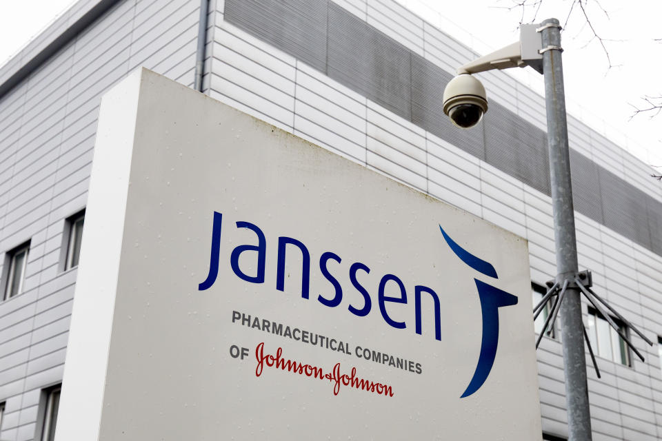 LEIDEN, NETHERLANDS - FEBRUARY 5: General exterior view of the head office of Janssen pharmaceutical company on Februyary 5, 2021 in Leiden, Netherlands. The American mother company of Janssen, Johnson & Johnson has requested quick approval in the United States for the coronavirus vaccine that was developed by Janssen Vaccines in Leiden. (Photo by Niels Wenstedt/BSR Agency/Getty Images)