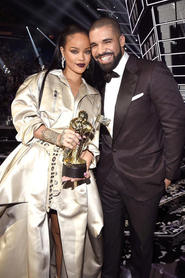 "<p>The rapper and Rihanna have <a href=""http://www.cosmopolitan.com/entertainment/celebs/a63543/drake-rihanna-relationship-timeline-love-dating-aubrih-forever/"" rel=""nofollow noopener"" target=""_blank"" data-ylk=""slk:a complicated history"" class=""link rapid-noclick-resp"">a complicated history</a>, going back years. They had a short-lived romance in 2009 — a little too short for Drake — which prompted him to tell the <i>New York Times</i> that he felt used by Rihanna. (He <a href=""http://www.mtv.com/news/1641715/drake-explains-his-comments-about-rihanna/"" rel=""nofollow noopener"" target=""_blank"" data-ylk=""slk:later clarified"" class=""link rapid-noclick-resp"">later clarified</a> that he didn't mean for his comments to come across as negative.) They continued to be flirty together — both on and off the stage — and Rihanna ex Chris Brown seemed to be at war with Drake for a while. By 2016, Drake and RiRi seemed like they might be dating again, with her kissing him at his concert in full view of everyone and his gushing about her while <a href=""https://www.yahoo.com/entertainment/watch-drake-present-video-vanguard-001329323.html"" data-ylk=""slk:presenting;outcm:mb_qualified_link;_E:mb_qualified_link"" class=""link rapid-noclick-resp newsroom-embed-article"">presenting</a> her with the Video Vanguard Award at the 2016 MTV VMAs. ""She's someone I've been in love with since I was 22 years old,"" he said. Think they'll ever get back together? (Photo: Kevin Mazur/WireImage) </p>"