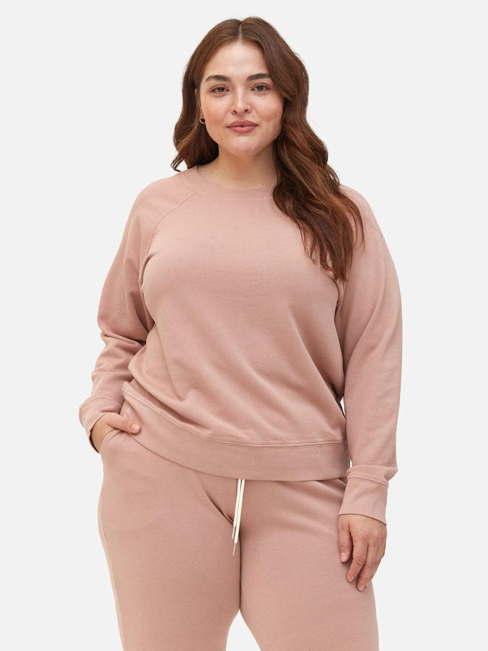 """<h2>Mate The Label</h2><br><strong>Best For: </strong>Loungewear Pieces<br><strong>Size Range: </strong>XS-3X<br><br>Mate is the go-to destination for thoughtfully designed loungewear. The brand uses organic cotton to create all its comfy pieces –– while focusing on simple yet stylish design. <br><br><strong>Customer Take:</strong> """"I've been working towards upgrading my loungewear since I spend so much time at home in sweat pants these days! These are a dream. The fit is a bit bigger than anticipated, but they are so soft and so well made. I can't wait to get the matching sweatshirt.""""<br><br><em>Shop <strong><a href=""""https://matethelabel.com/pages/reviews"""" rel=""""nofollow noopener"""" target=""""_blank"""" data-ylk=""""slk:Mate the Label"""" class=""""link rapid-noclick-resp"""">Mate the Label</a></strong></em><br><br><strong>Mate The Label</strong> Organic Terry Raglan Sweatshirt, $, available at <a href=""""https://go.skimresources.com/?id=30283X879131&url=https%3A%2F%2Fmatethelabel.com%2Fcollections%2Fextended-collection%2Fproducts%2Forganic-terry-raglan-sweatshirt-rose"""" rel=""""nofollow noopener"""" target=""""_blank"""" data-ylk=""""slk:Mate the Label"""" class=""""link rapid-noclick-resp"""">Mate the Label</a>"""