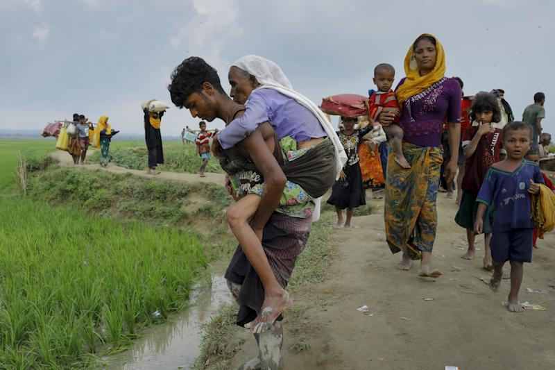 Rohingya refugees from Myanmar's Rakhine state reach the border near Teknaf, Bangladesh, on Sept. 5. (K M ASAD/AFP/Getty Images)
