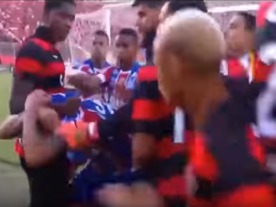 Match in Brazil abandoned after nine players sent off following mass punch-up
