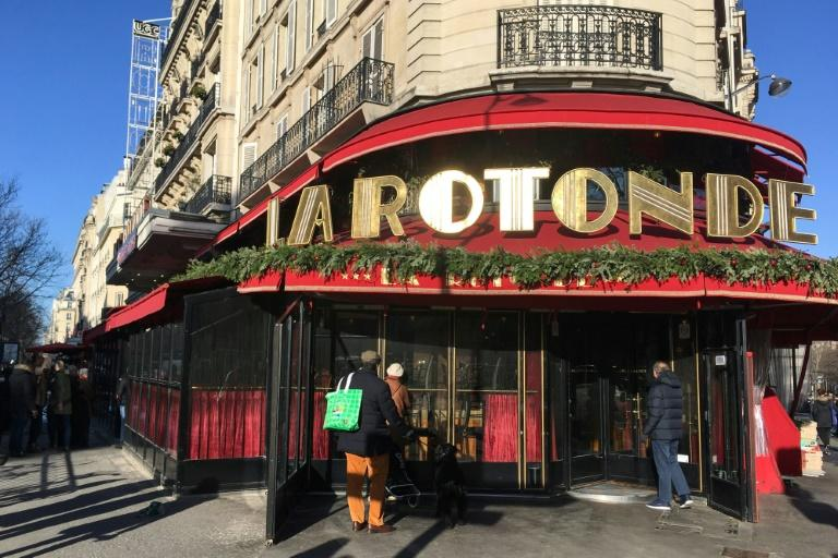 La Rotonde, a Paris brasserie favoured by President Emmanuel Macron, was damaged in a suspected arson attack early on Saturday. (AFP Photo/Aurore MESENGE)