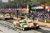 Soldiers on T-90 (Bhisma) tanks march march along Rajpath during the Republic Day parade in New Delhi on January 26, 2021. (Photo by Jewel SAMAD / AFP) (Photo by JEWEL SAMAD/AFP via Getty Images)