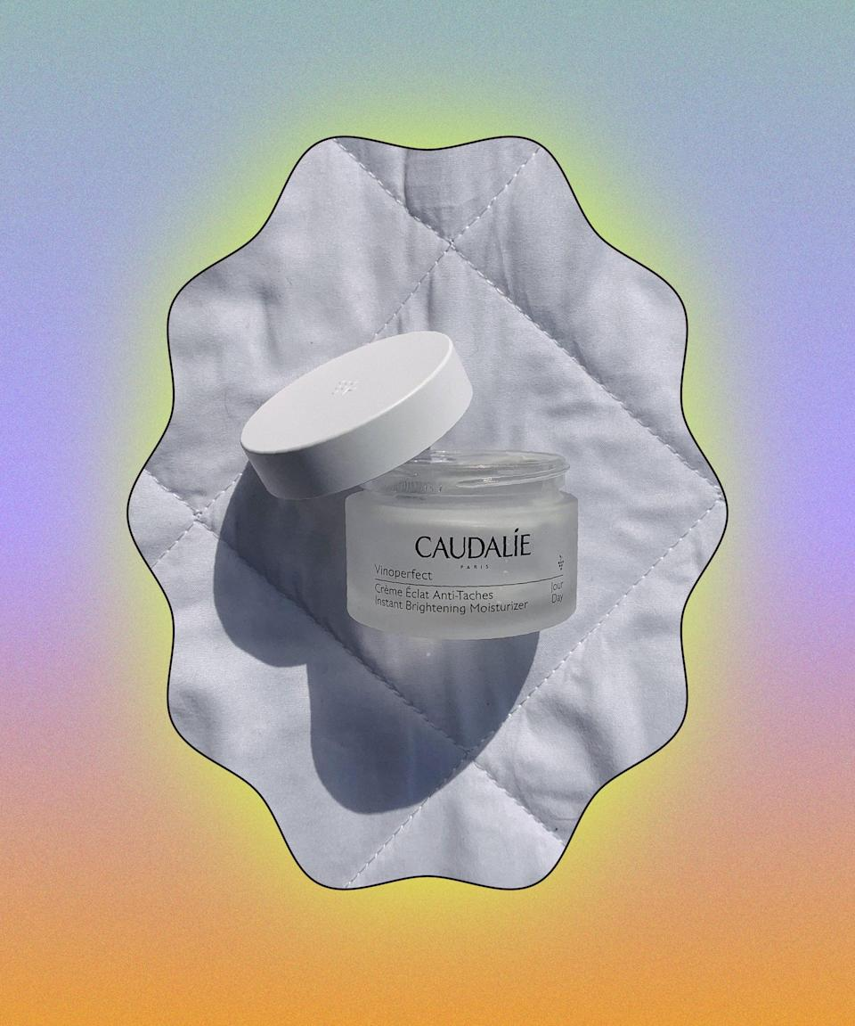 """New from Caudalie, this daytime moisturiser made my skin appear dewy and radiant thanks to olive squalane, which quenches thirsty skin, and the brand's star ingredient viniferine, said to rival <a href=""""https://www.refinery29.com/en-gb/2017/04/159464/vitamin-c-for-skin"""" rel=""""nofollow noopener"""" target=""""_blank"""" data-ylk=""""slk:vitamin C"""" class=""""link rapid-noclick-resp"""">vitamin C</a> on the brightening front. My skin is a lot more even in tone and texture, and I love the silky soft feel; it sits perfectly under makeup. <br><br><strong>Caudalie</strong> Vinoperfect Instant Brightening Moisturiser, $, available at <a href=""""https://www.lookfantastic.com/caudalie-vinoperfect-instant-brightening-moisturiser-50ml/12782350.html"""" rel=""""nofollow noopener"""" target=""""_blank"""" data-ylk=""""slk:LookFantastic"""" class=""""link rapid-noclick-resp"""">LookFantastic</a>"""