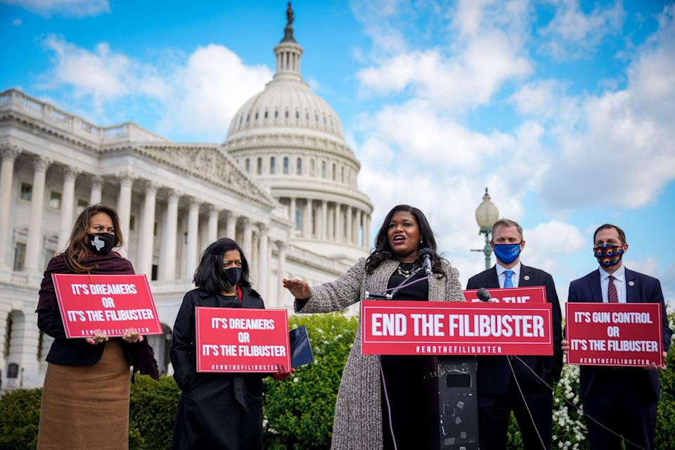 Rep. Cori Bush (D-Mo.) speaks during a news conference to advocate for ending the Senate filibuster, outside the U.S. Capitol on April 22. (Photo: Drew Angerer via Getty Images)