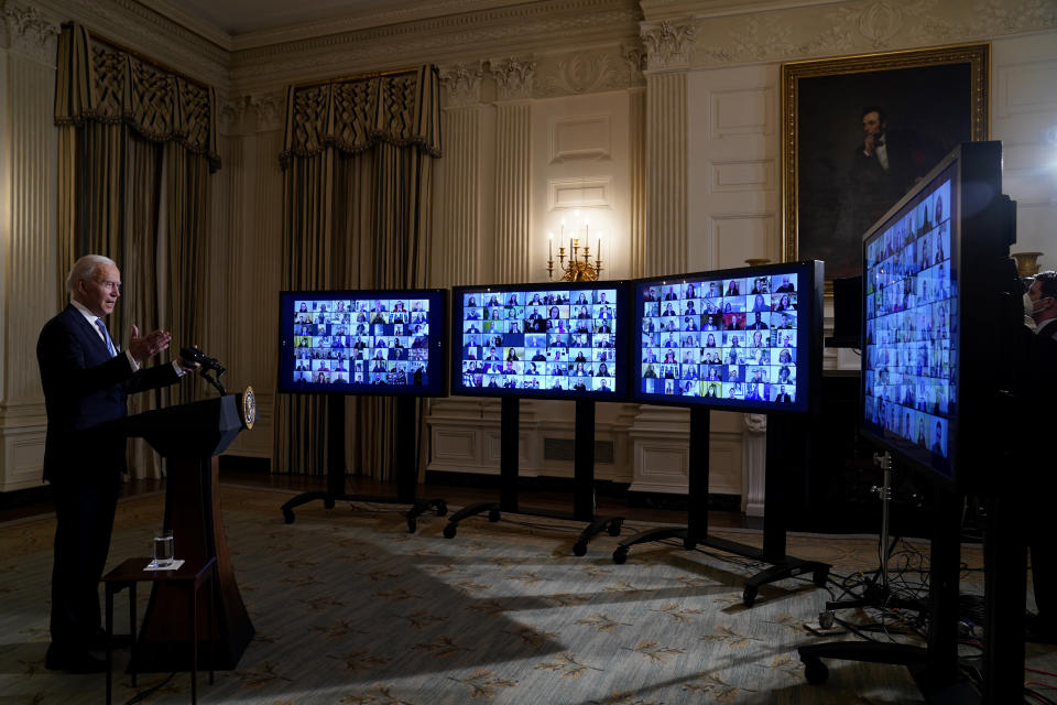 FILE - In this Jan. 20, 2021, file photo President Joe Biden speaks during a virtual swearing in ceremony of political appointees from the State Dining Room of the White House in Washington. (AP Photo/Evan Vucci, File)