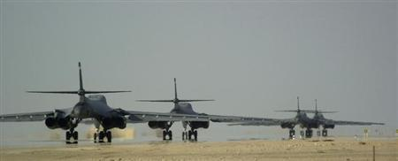 B1 BOMBERS TAXI PRIOR TO MISSION.