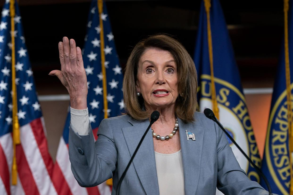 """House Speaker Nancy Pelosi discussing Trump's """"cumulative"""" obstruction in Washington on May 9, 2019."""