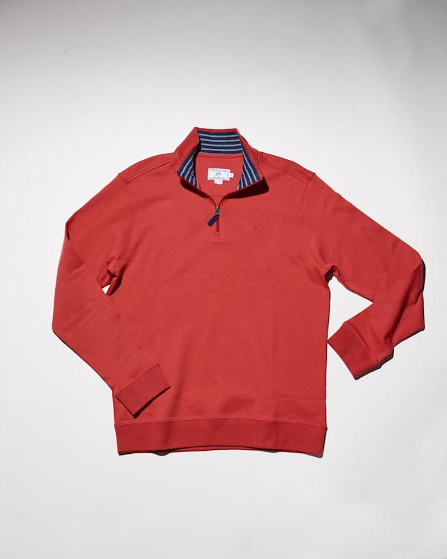 "<p>This quarter-zip is perfect for staying stylish on cool summer nights. The striped interior collar really pops against this coral layering piece. It's 100 percent cotton, which gives it a lightweight feel and comfortable wear.</p> <p><strong><a href=""https://www.southerntide.com/collections/men-sweaters-pullovers/products/lightweight-skipjack-quarter-zip-pullover"" rel=""nofollow noopener"" target=""_blank"" data-ylk=""slk:southerntide.com"" class=""link rapid-noclick-resp"">southerntide.com</a></strong>/$99</p>"