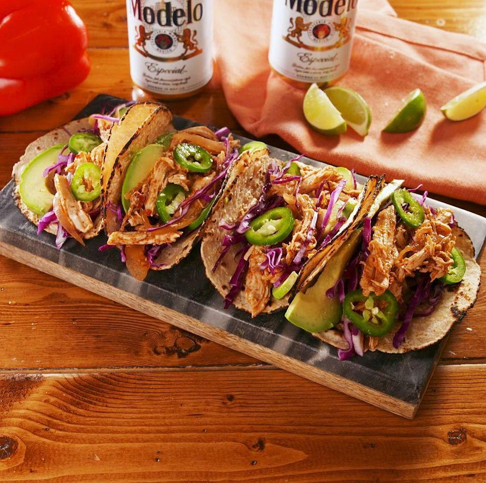 """<p>Who says boneless, skinless <a href=""""https://www.delish.com/uk/cooking/recipes/g29843799/healthy-chicken-breast-recipes/"""" rel=""""nofollow noopener"""" target=""""_blank"""" data-ylk=""""slk:chicken breasts"""" class=""""link rapid-noclick-resp"""">chicken breasts</a> have to be boring? This chicken has TONS of flavour! It's got spice from the chillies, some tang from the lime juice, and just a hint of sweetness from the brown sugar. We're in love. </p><p>Get the <a href=""""https://www.delish.com/uk/cooking/recipes/a32727594/crockpot-chicken-taco-recipe/"""" rel=""""nofollow noopener"""" target=""""_blank"""" data-ylk=""""slk:Slow Cooker Chicken Tacos"""" class=""""link rapid-noclick-resp"""">Slow Cooker Chicken Tacos</a> recipe.</p>"""