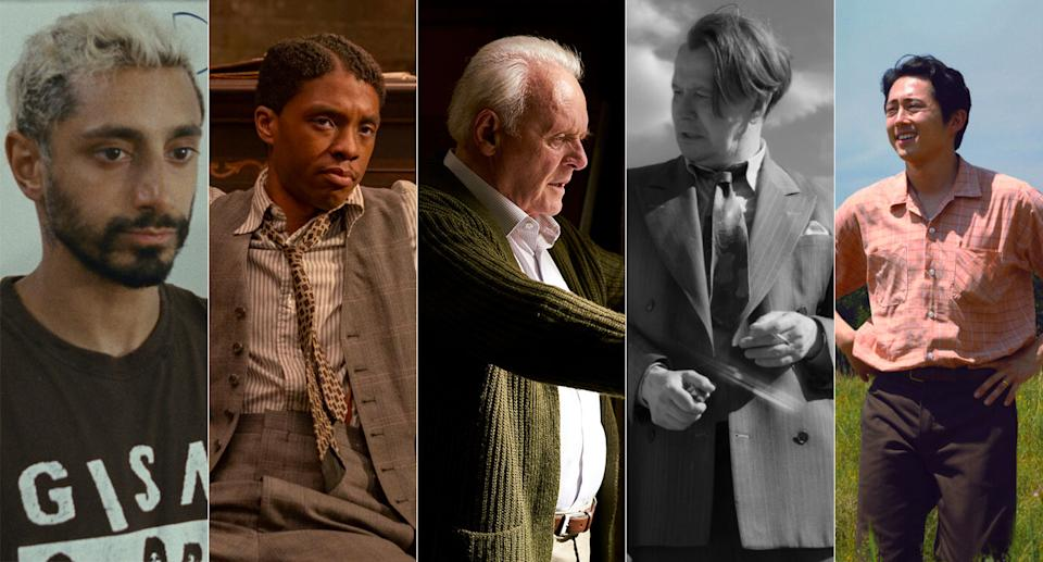 Riz Ahmed, Chadwick Boseman, Anthony Hopkins, Gary Oldman and Steven Yeun are up for Best Actor at the 2021 Academy Awards (Amazon/Netflix/Lionsgate/Altitude)