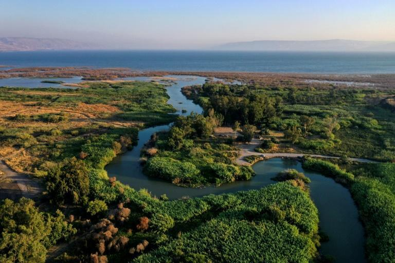 The Jordan River is seen flowing into the northern part of the Sea of Galilee, or Lake Tiberias, one of Israel's main water sources (AFP/MENAHEM KAHANA)