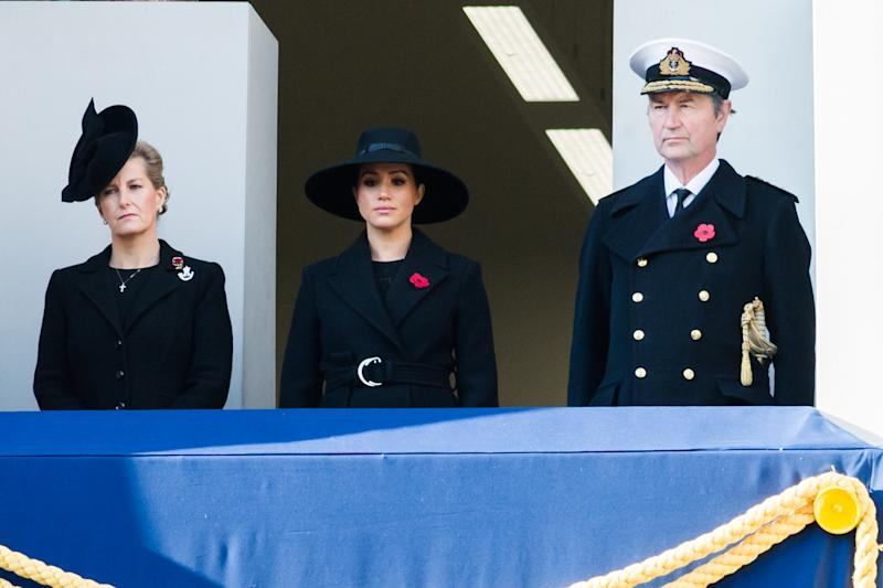 LONDON, UNITED KINGDOM - November 10, 2019: (L-R) Sophie, Countess of Wessex, Meghan, Duchess of Sussex and Vice Admiral Timothy Laurence attend the National Service of Remembrance at the Cenotaph on 10 November, 2019 in London, England, held annually to commemorate military personnel who died in the line of duty on the anniversary of the end of the First World War.- PHOTOGRAPH BY Wiktor Szymanowicz / Barcroft Media (Photo credit should read Wiktor Szymanowicz / Barcroft Media via Getty Images)