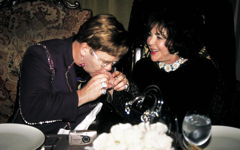 Elton John, Elizabeth Taylor Surprise Birthday Party for Elton John Thrown by 'Interview' Magazine and Donatella Versace Chateau Marmont Hotel, LA March 25, 2000 - Getty Images