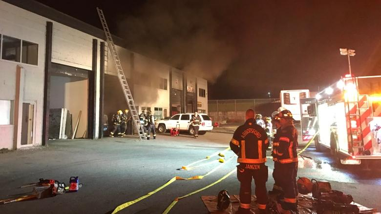 Abbotsford firefighters battle blaze inside truck repair shop