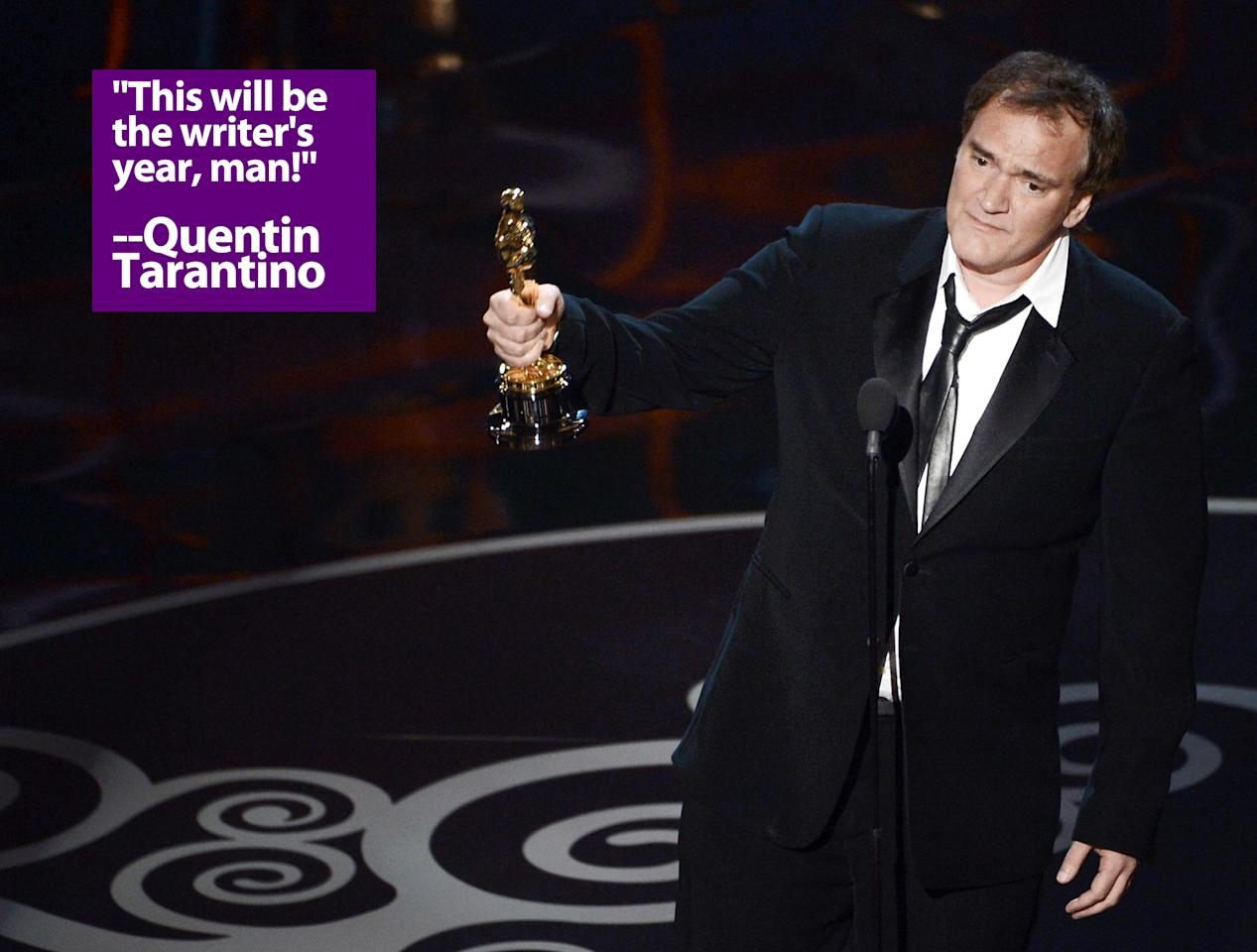 "Writer/director Quentin Tarantino accepts the Best Writing - Original Screenplay award for ""Django Unchained"" onstage during the Oscars held at the Dolby Theatre on February 24, 2013 in Hollywood, California."