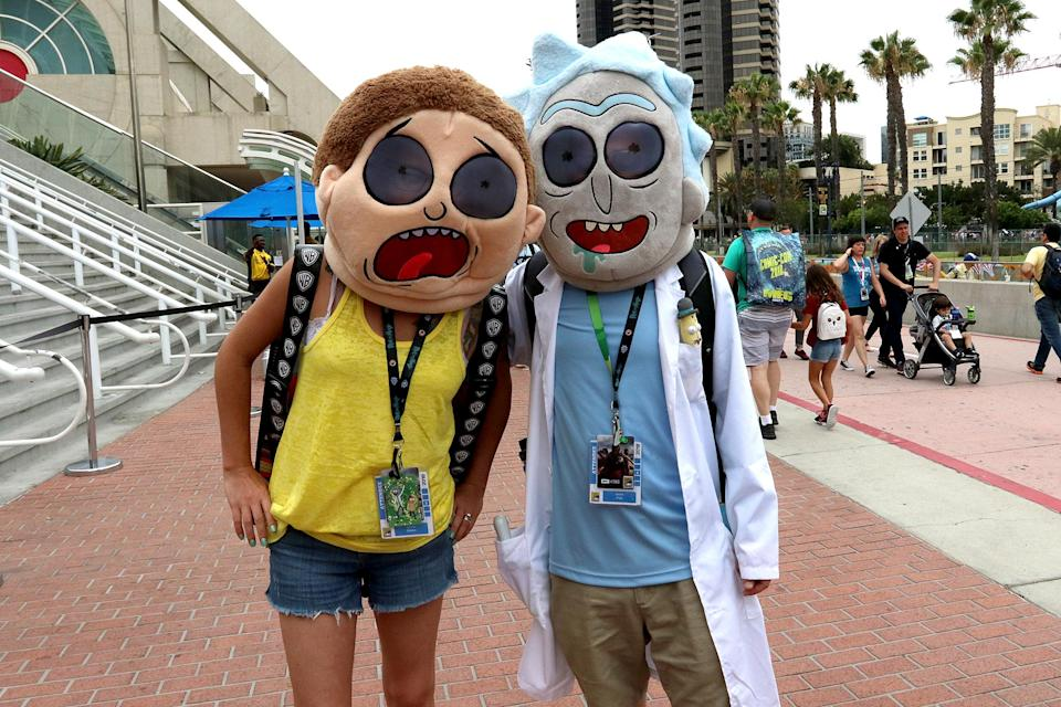 <p>Cosplayers dressed as Rick and Morty at Comic-Con International on July 20 in San Diego. (Photo: Angela Kim/Yahoo Entertainment) </p>
