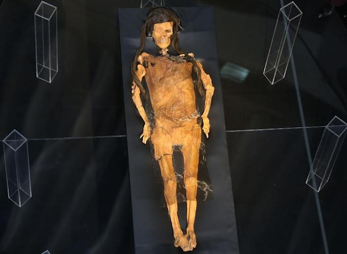 Image showing the Lady of Cao, the mummified body of a Moche priestess whose tomb was discovered more than a decade ago in La Libertad, in the coastal desert of Peru, released by the Peruvian national news service Andina on July 4, 2017 (AFP Photo/Oscar FARJE)