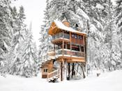 """<p>Take your fantasy of living in a cabin in the woods to new heights with a stay at this stunning, two-story treehouse retreat at the gateway to Glacier National Park in Montana. The <a href=""""https://www.housebeautiful.com/lifestyle/g18567997/best-winter-vacations-america/"""" rel=""""nofollow noopener"""" target=""""_blank"""" data-ylk=""""slk:wintry getaway"""" class=""""link rapid-noclick-resp"""">wintry getaway</a> is ideal for outdoor adventurers, and the spacious digs welcome you back from a day of activity with a full kitchen and bathroom.</p><p><a class=""""link rapid-noclick-resp"""" href=""""https://www.airbnb.com/rooms/18627194"""" rel=""""nofollow noopener"""" target=""""_blank"""" data-ylk=""""slk:BOOK NOW"""">BOOK NOW</a> <strong><em>Montana Treehouse Retreat</em></strong><br></p>"""