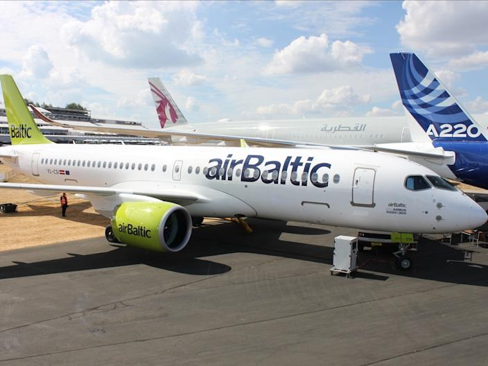 An Air Baltic Airbus A220 aircraft.