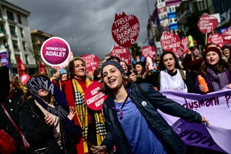 Demonstrators shout slogans during a Women's Day rally in Istanbul