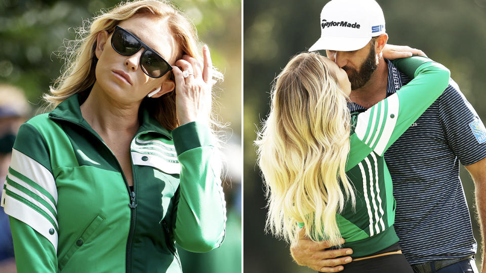 Paulina Gretzky, pictured here in her green jacket at the Masters.