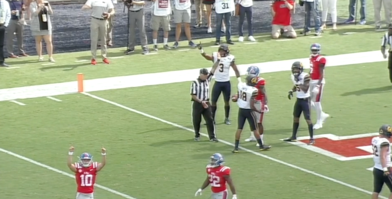 John Rhys Plumlee celebrated while an official ruled Elijah Moore short. (via ESPNU)