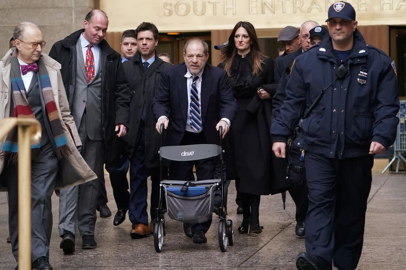Film producer Harvey Weinstein departs New York Criminal Court during his ongoing sexual assault trial in the Manhattan borough of New York City