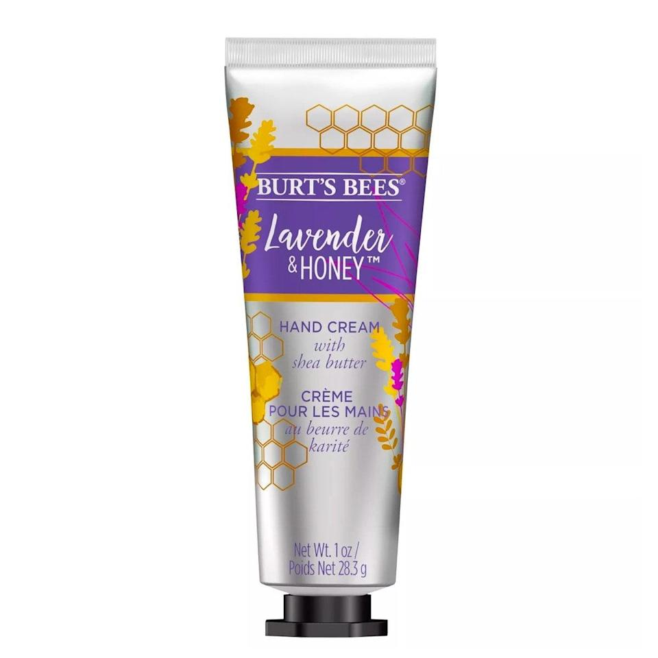 """The intensely hydrating shea butter and nourishing honey in this hand cream makes it the perfect choice to put on right before you go to sleep. It coats your fingers and palms with a thick layer of moisture that makes them feel crazy soft in the morning. <em>—L.S.</em> $5, Burt's Bees. <a href=""""https://www.target.com/p/burt-s-bees-shea-butter-lavender-and-honey-hand-cream-1oz/-/A-75561984#lnk=sametab"""" rel=""""nofollow noopener"""" target=""""_blank"""" data-ylk=""""slk:Get it now!"""" class=""""link rapid-noclick-resp"""">Get it now!</a>"""