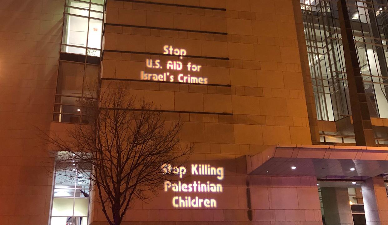 Protest messages on the facade of the Walter E. Washington Convention Center, during AIPAC in Washington, D.C. (Photo: Alexander Nazaryan/Yahoo News)