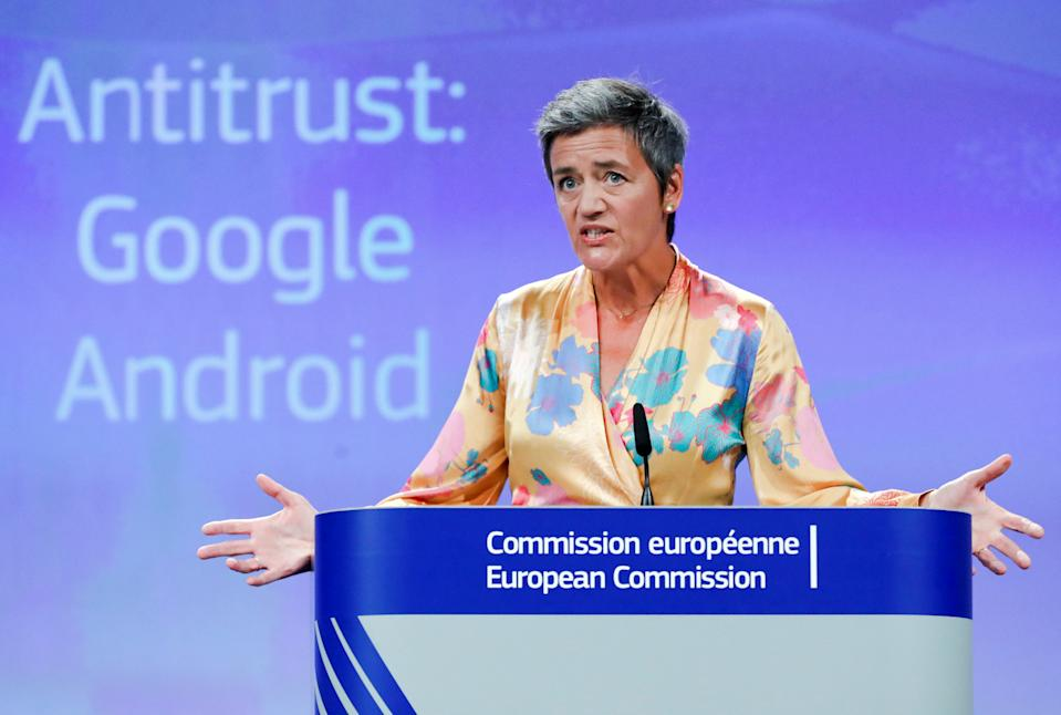 European Competition Commissioner Margrethe Vestager addresses a news conference on Google in Brussels, Belgium, July 18, 2018. REUTERS/Yves Herman      TPX IMAGES OF THE DAY - RC17133D1440