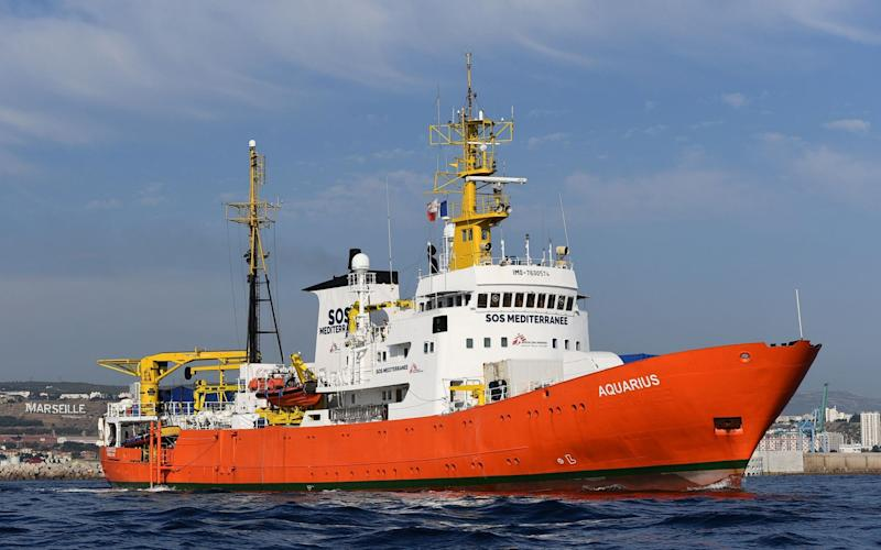The rescue ship Aquarius, chartered by French aid group SOS Mediterranee and Doctors Without Borders (MSF) - AFP