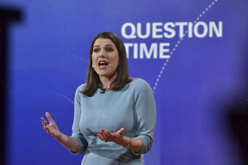 Liberal Democrats Leader Jo Swinson speaks during a BBC Question Time live election debate, in Sheffield, England, Friday, Nov. 22, 2019. ( Jeff Overs/BBC via AP)