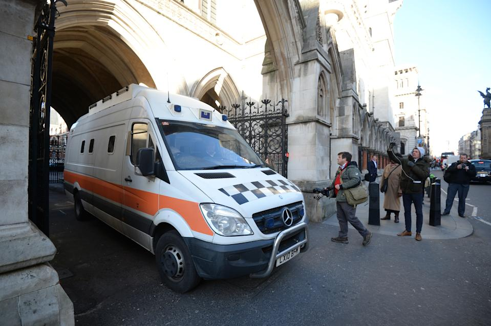The prison van containing Black cab rapist John Worboys leaves the Royal Courts of Justice in London following a High Court appearance where two of his victims have been given the go-ahead to challenge the decision to release him from prison.